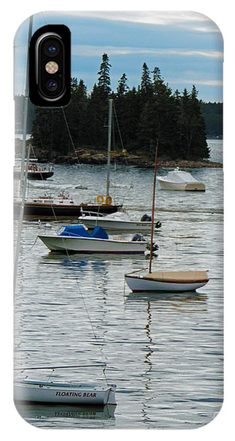 Seal Harbor IPhone X Case featuring the photograph Sailboats In Seal Harbor  by Helene Guertin