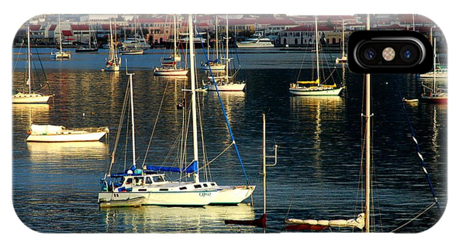 Sailboats IPhone X Case featuring the photograph Sailboats Sunrise by Tim Nielsen