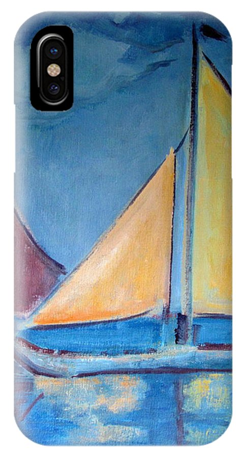 Sail Boats IPhone X Case featuring the painting Sailboats With Red And Yellow Sails by Betty Pieper
