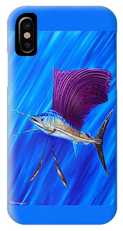 Sailfish IPhone X Case featuring the painting Sailfish by Steve Ozment