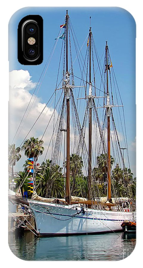 Ship IPhone X Case featuring the photograph Sailing In Barcelona by Sue Melvin