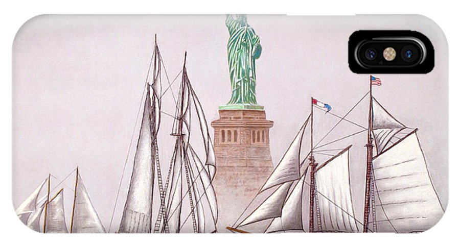 Davidlintonart IPhone X Case featuring the painting Sailing In Good Company by David Linton