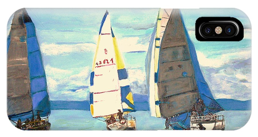 Seascape IPhone X Case featuring the painting Sailing Regatta At Port Hardy by Teresa Dominici
