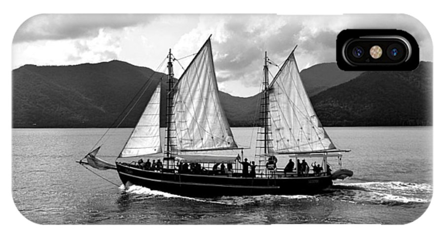 Sailing IPhone X Case featuring the photograph Sailing Ship Black And White by Girish J