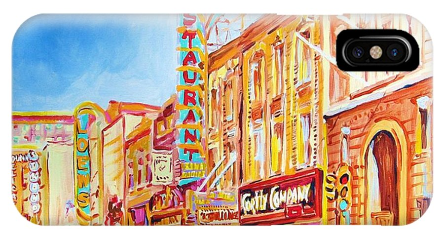 Paintings Of Montreal IPhone X Case featuring the painting Saint Catherine Street Montreal by Carole Spandau