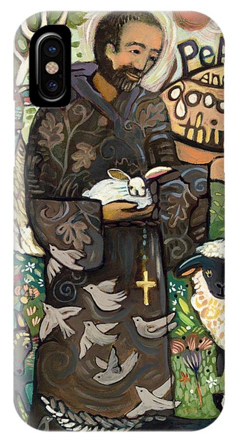 Jen Norton IPhone X Case featuring the painting Saint Francis by Jen Norton