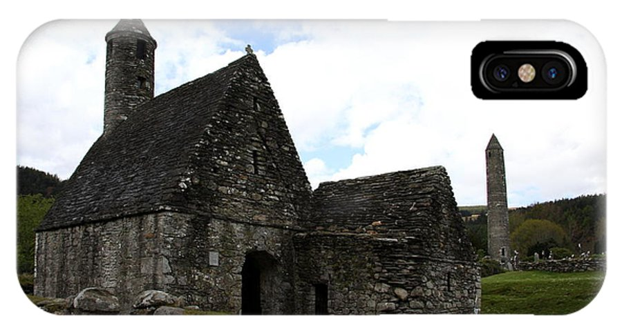 Cloister IPhone X Case featuring the photograph Saint Kevin's Church And Roundtower View by Christiane Schulze Art And Photography