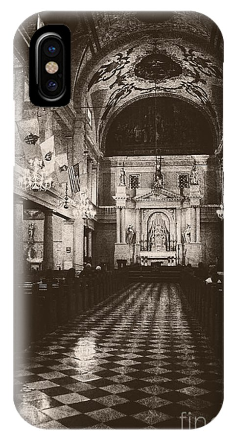 Church IPhone X Case featuring the photograph Saint Louis Cathedral New Orleans Black And White by Kathleen K Parker