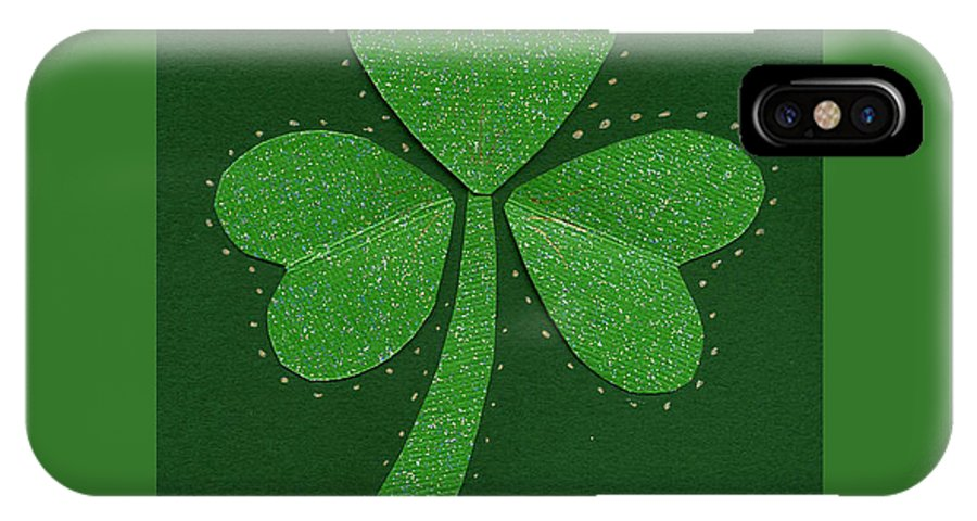 Shamrocks IPhone X / XS Case featuring the mixed media Saint Patricks Day Collage Number 13 by Ellen Miffitt