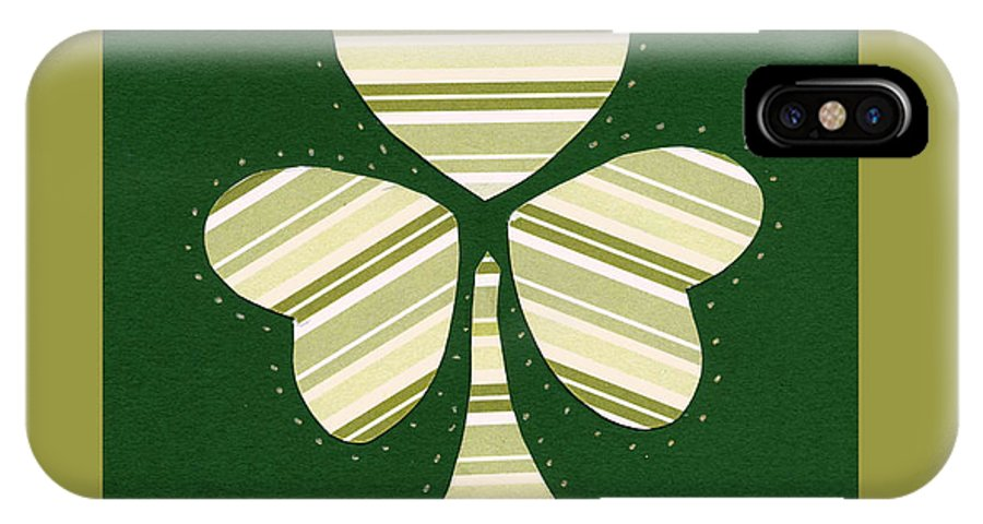 Shamrocks IPhone X Case featuring the mixed media Saint Patricks Day Collage Number 14 by Ellen Miffitt