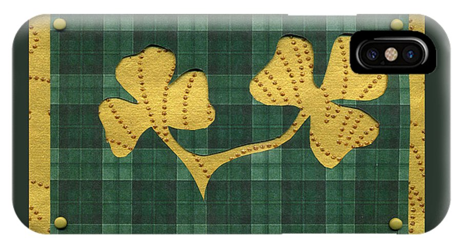 Shamrocks IPhone X / XS Case featuring the mixed media Saint Patricks Day Collage Number 19 by Ellen Miffitt
