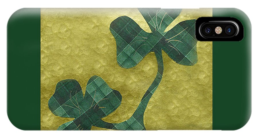 Shamrocks IPhone X Case featuring the mixed media Saint Patricks Day Collage Number 22 by Ellen Miffitt