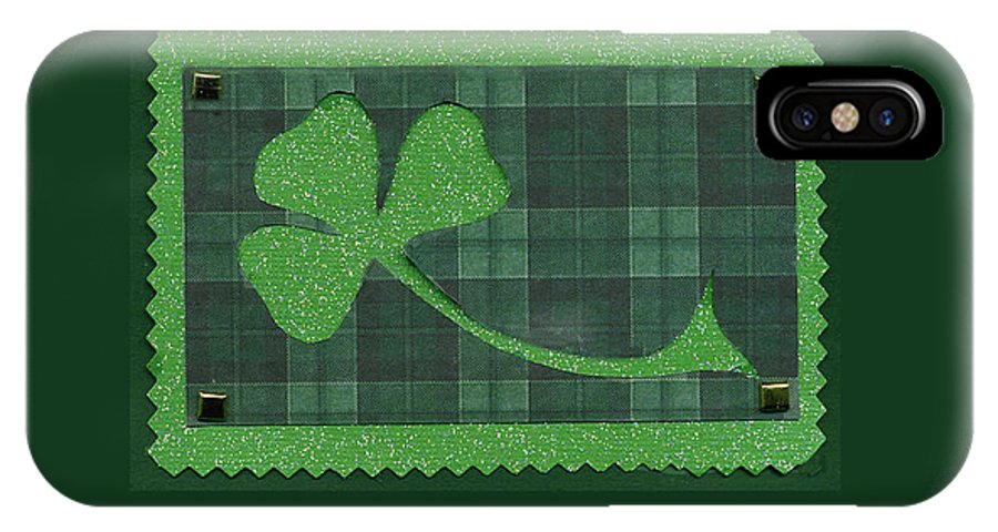Shamrocks IPhone X Case featuring the mixed media Saint Patricks Day Collage Number 28 by Ellen Miffitt