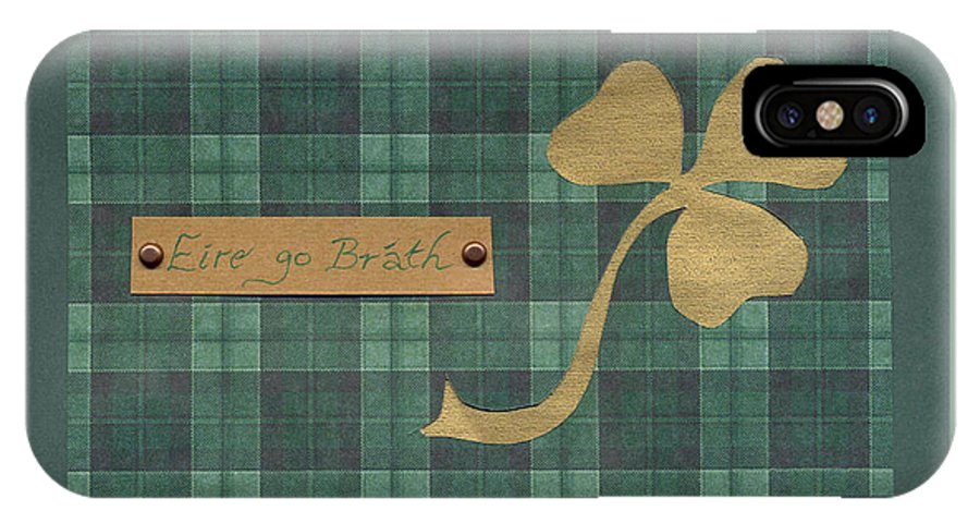 Shamrocks IPhone X Case featuring the mixed media Saint Patricks Day Collage Number 4 by Ellen Miffitt