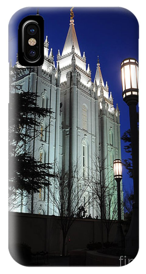 Mormon IPhone X Case featuring the photograph Salt Lake Mormon Temple At Night by Gary Whitton