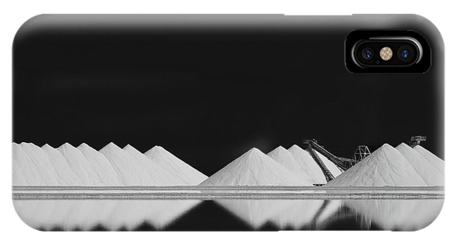 Dark IPhone X Case featuring the photograph Salt Production Bw by Rolf Endermann