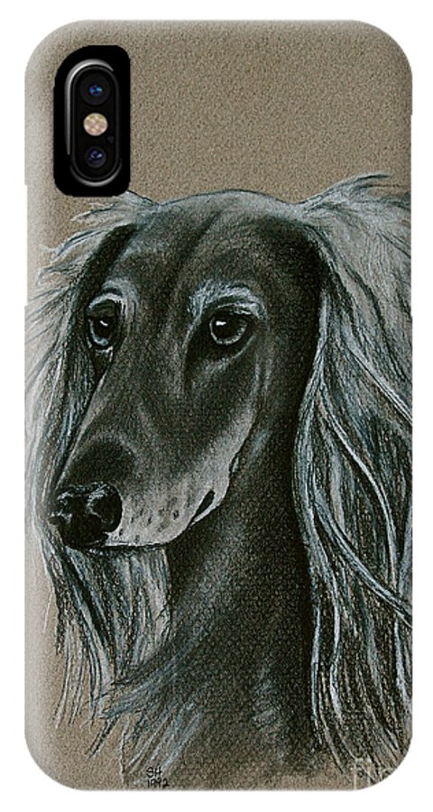 Hound IPhone X / XS Case featuring the drawing Saluki by Susan Herber