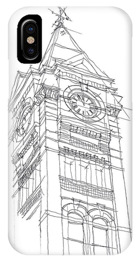 Samford Hall IPhone X Case featuring the drawing Samford Hall Sketch by Calvin Durham