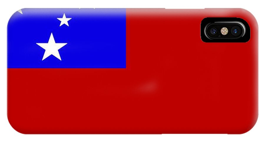 Samoa IPhone X Case featuring the digital art Samoa Flag by Frederick Holiday