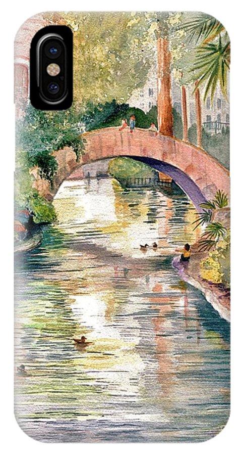 San Antonio Riverwalk IPhone X Case featuring the painting San Antonio Riverwalk by Marilyn Smith