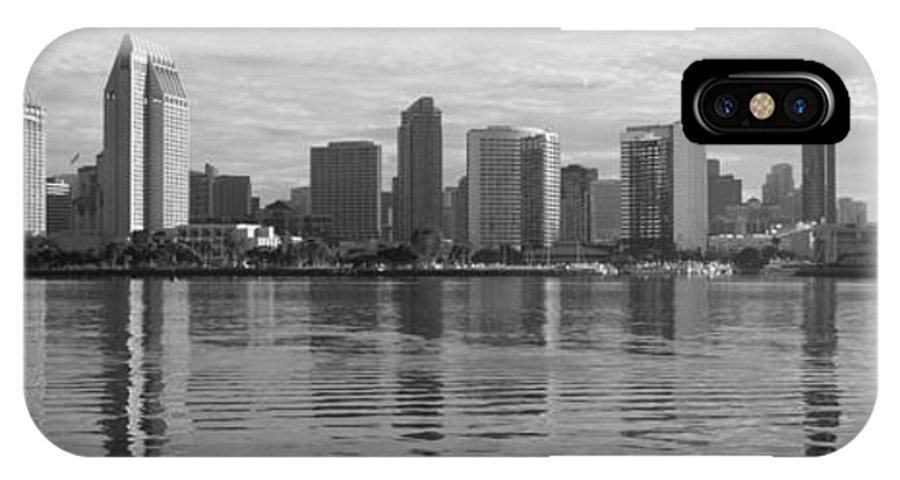 San Diego IPhone X Case featuring the photograph San Diego Skyline Sunrise Monochrome by Joseph Mcgrady