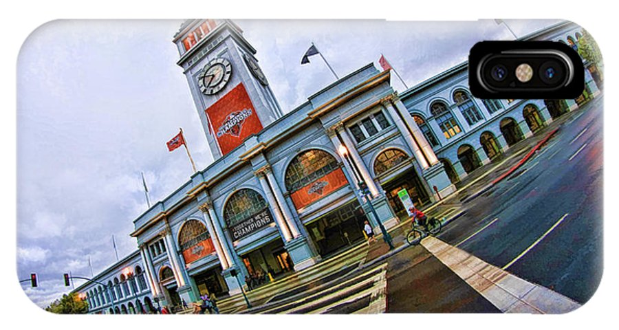 San Francisco Ferry Building IPhone X Case featuring the photograph San Francisco Ferry Building Giants Decorations. by Blake Richards