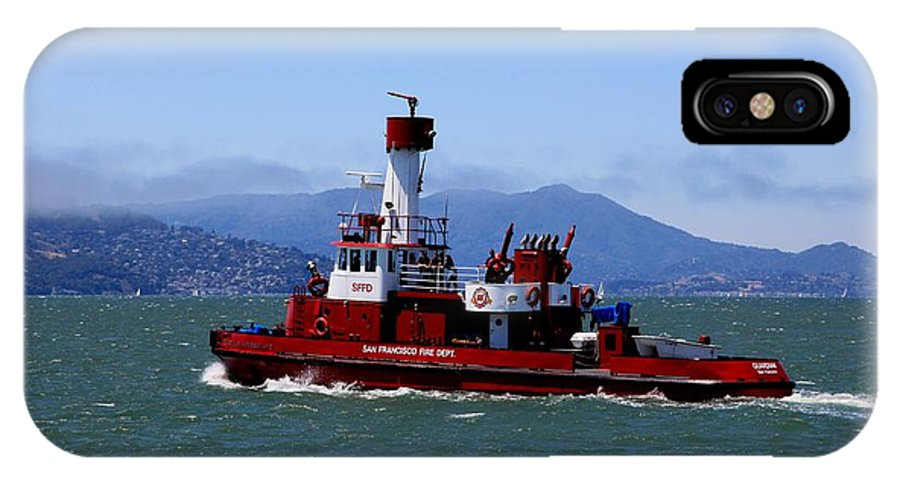 San Francisco IPhone X Case featuring the photograph San Francisco Fire Department Fire Boat by Syl Pauley