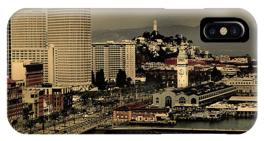Bridge IPhone X Case featuring the photograph San Francisco Pier From The Bridge by Maggy Marsh