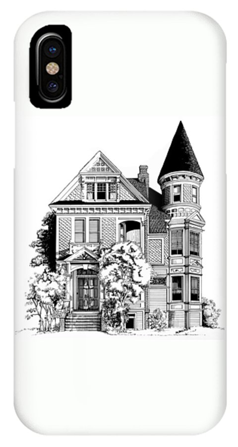 Pen And Ink IPhone X Case featuring the drawing San Francisco Victorian by Mary Palmer
