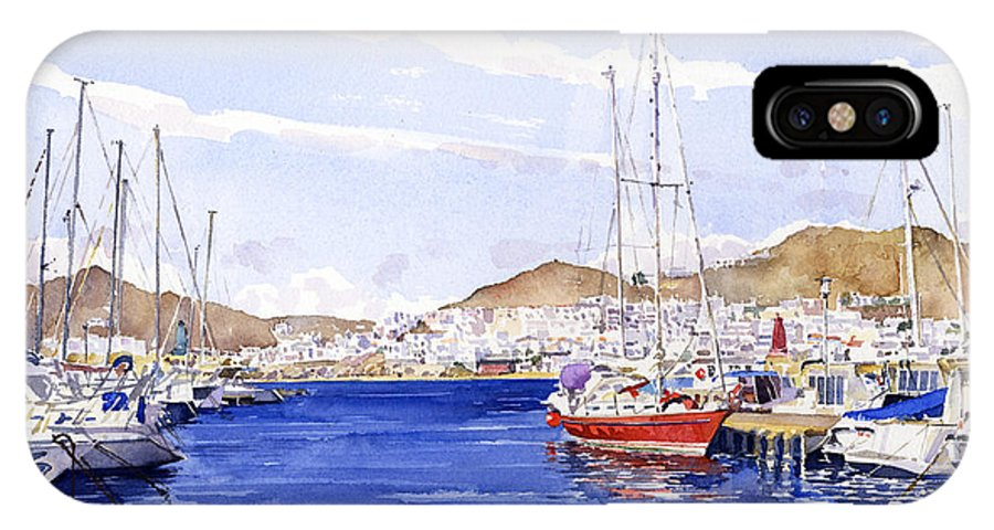 Watercolor IPhone X Case featuring the painting San Jose Marina by Margaret Merry