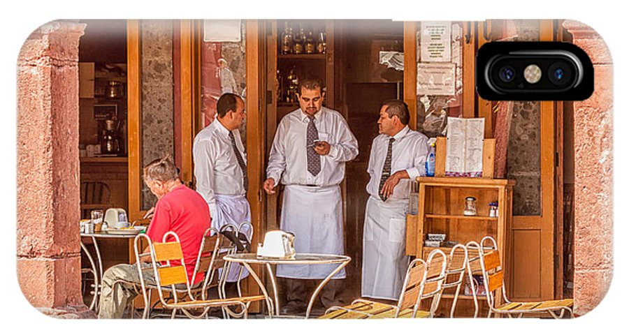 Waiters IPhone X Case featuring the photograph San Miguel - Waiting For Customers by Lindley Johnson