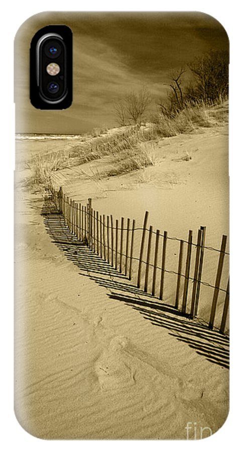 Sand Dunes IPhone X Case featuring the photograph Sand Dunes And Fence by Timothy Johnson