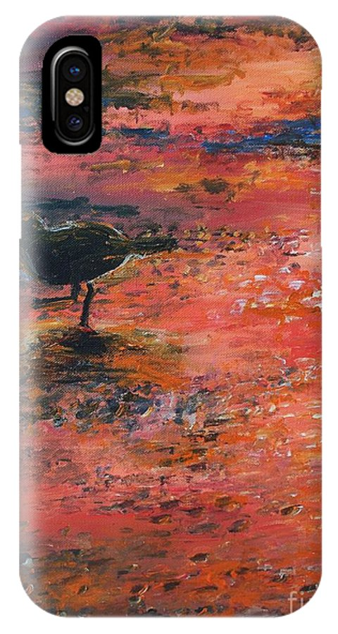 Beach IPhone X Case featuring the painting Sandpiper Cape May by Eric Schiabor