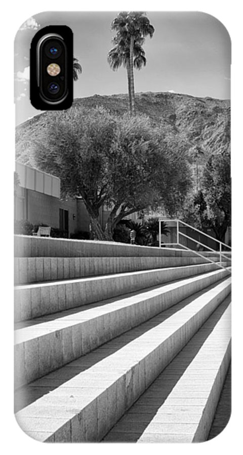Sandpiper IPhone X Case featuring the photograph Sandpiper Stairs Bw Palm Desert by William Dey