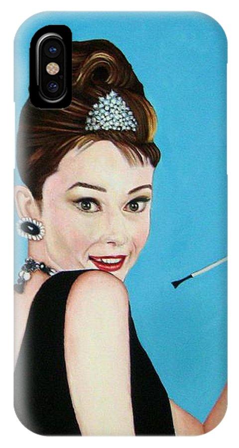 Sandra Bullock IPhone X Case featuring the painting Sandra Bullock And Audrey Hepburn by Venus