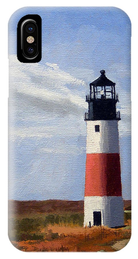 Christine Hopkins IPhone X Case featuring the painting Sankaty Head Lighthouse Nantucket Massachusetts by Christine Hopkins