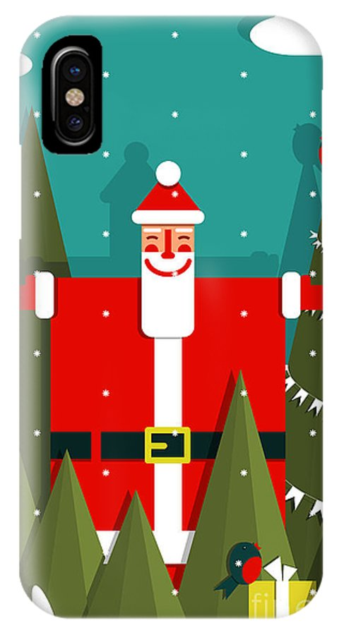 Symbol IPhone X Case featuring the digital art Santa With Gifts And Presents In Woods by Popmarleo