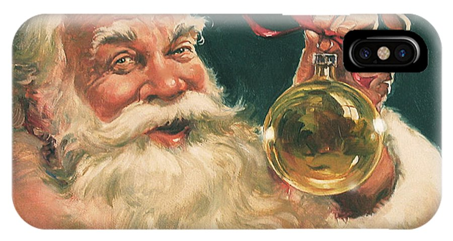 Santa IPhone X Case featuring the painting Santa Claus by Dennis Lyall