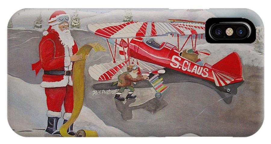 Rick Huotari IPhone X Case featuring the painting Santa's Airport by Rick Huotari