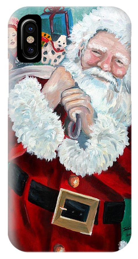 Santa IPhone X Case featuring the painting Santa's Coming To Town by Julie Brugh Riffey