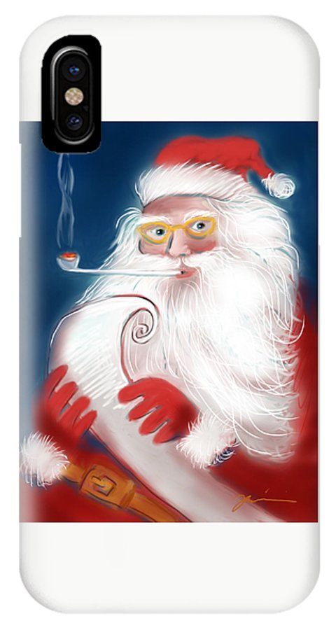 Santa IPhone X Case featuring the painting Santa's List by Jean Pacheco Ravinski