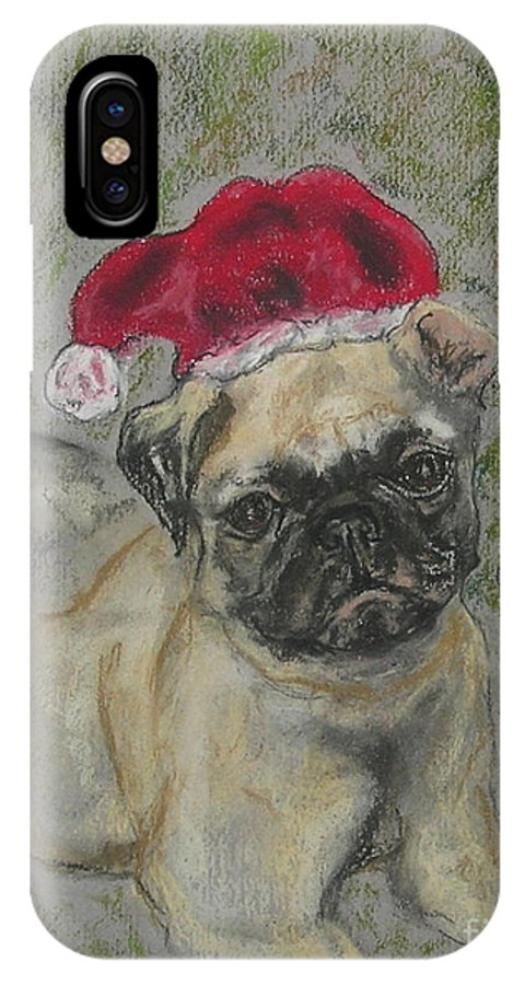Pug IPhone X / XS Case featuring the drawing Santa's Little Pugster by Cori Solomon