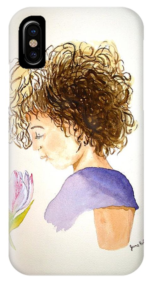 Girl IPhone X Case featuring the painting Sarah by June Holwell