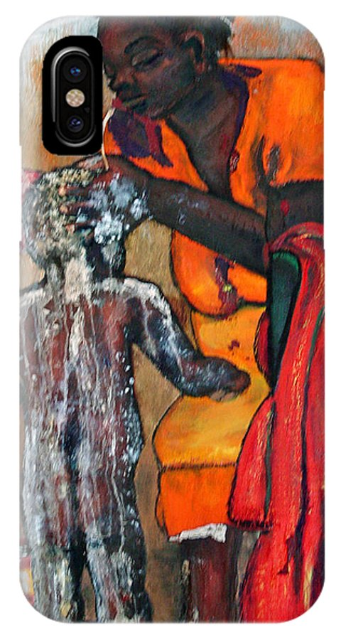 Mom Bathing Boy IPhone X Case featuring the painting Saturday Night Bath by Peggy Blood