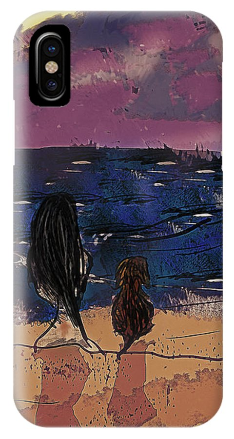 Seaside IPhone X Case featuring the digital art Saturday Seaside by Galen Valle