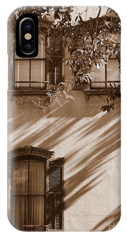 Savannah IPhone X Case featuring the photograph Savannah Sepia - Windows by Carol Groenen