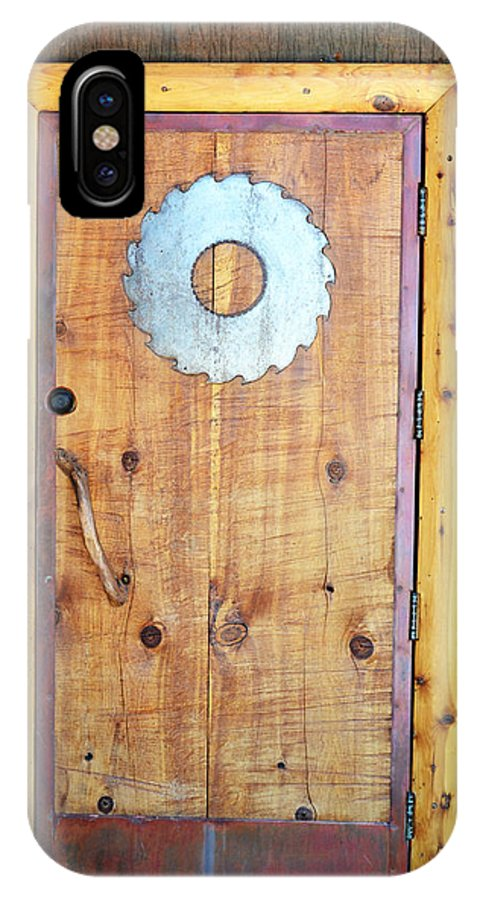 Saw IPhone X Case featuring the photograph Sawmill Door by Holly Blunkall