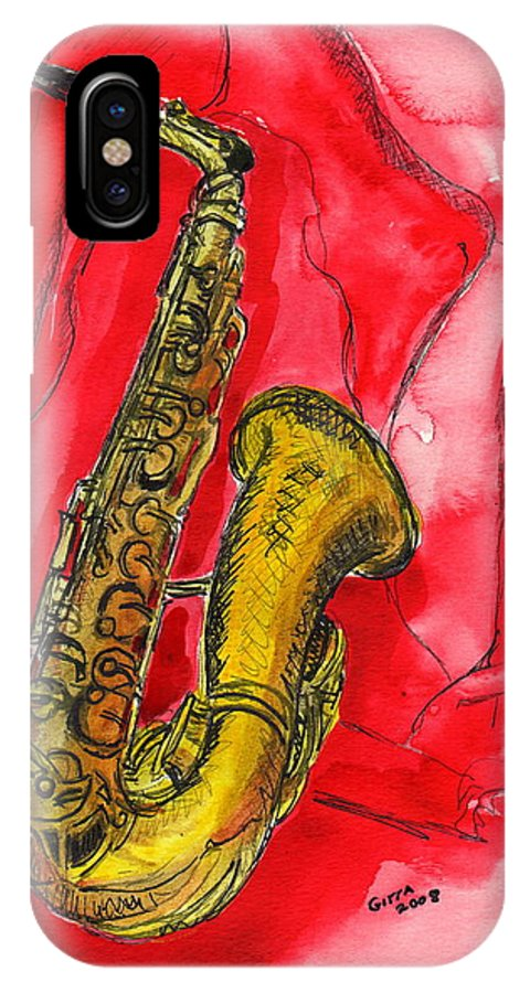 Saxophone IPhone X Case featuring the painting Saxophone by Gitta Brewster