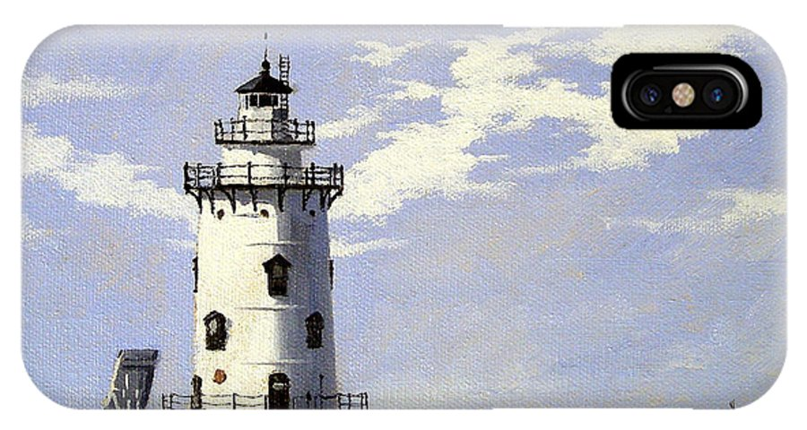 Christine Hopkins IPhone X Case featuring the painting Saybrook Breakwater Lighthouse Old Saybrook Connecticut by Christine Hopkins