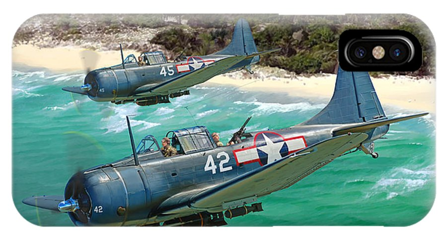 Aviation IPhone X Case featuring the painting Sbd Dauntless by Mark Karvon